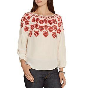 NWT Tory Burch Leyla Sequin-Embellished Silk Top